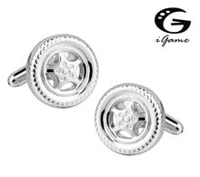 IGame hommes mode boutons de manchette couleur argent laiton matériel nouveauté voiture pneu conception boutons de manchette