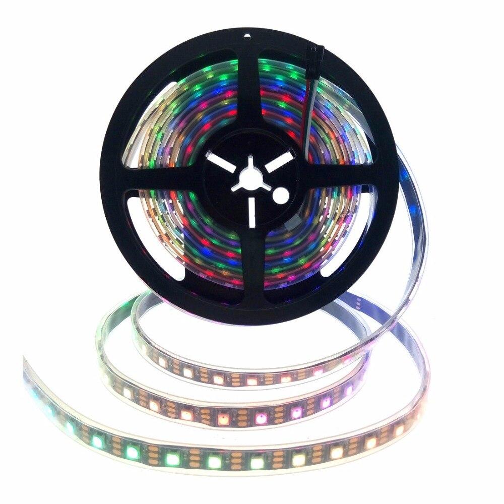 WS2812B Mutável Inteligente de Pixel RGB LED Luz de Tira Sonho Cor SMD 5050 DC5V Preto/Branco PCB 30/60 /144 LEDs/m IP65/67 À Prova D Água