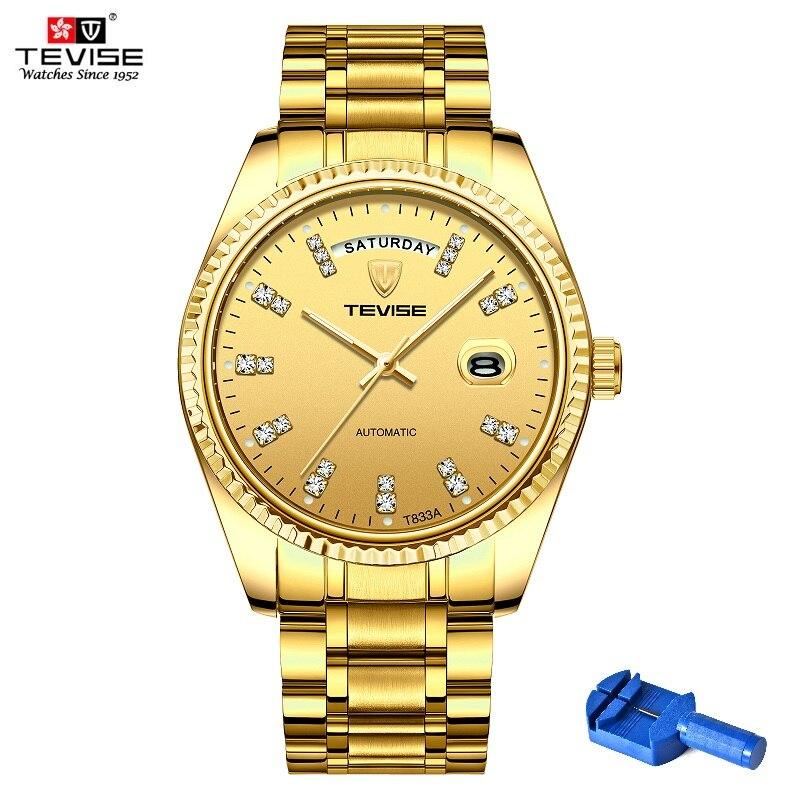 TEVISE Watch Men T833A Men Automatic Watch Rhinestone Scale Date Week Shockproof Waterproof Luminous