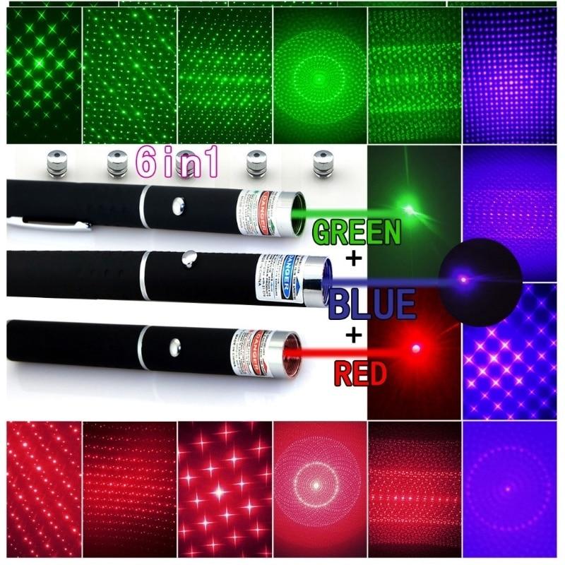 Lápiz de puntero láser 5 en 1 rojo, verde, morado + 5 cápsulas estilo de luz estrellada, lápiz láser táctico
