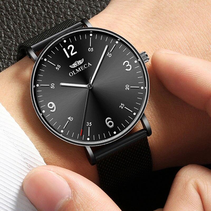 Relojes de moda para hombre, reloj de malla fina de acero para hombre, reloj de negocios resistente al agua para hombre, reloj de pulsera de cuarzo para hombre, reloj Masculino