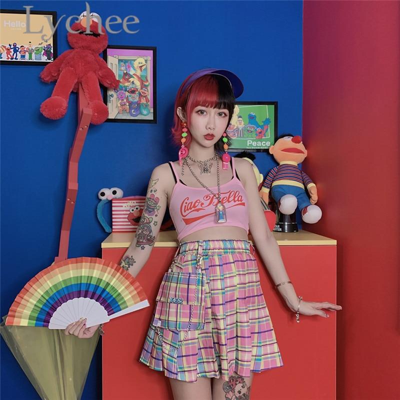 Lychee estilo Preppy tela a cuadros de arcoíris Falda plisada femenina de cintura alta Mini falda por encima de la rodilla de verano volantes A-line falda de las mujeres