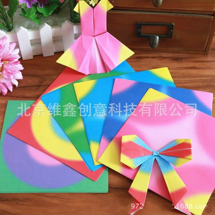 Origami de color degradado de 15cm, origami artesanal hecho a mano, material de origami DIY para niños, 48 unidades