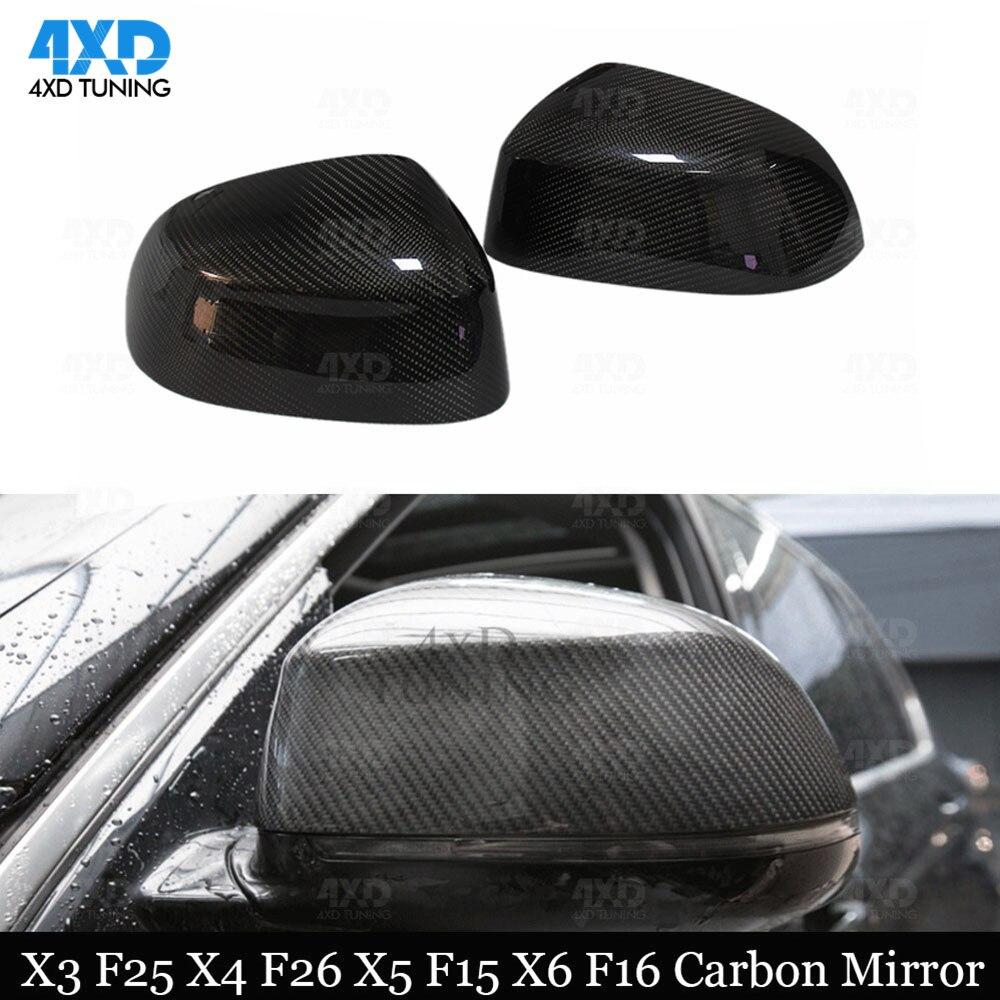 X3 F25 cubierta para espejo retrovisor para BMW X5 F15 X4 F26 X6 F16 seco de fibra de carbono en el lado trasero espejo cubierta 2014, 2015, 2016, 2017