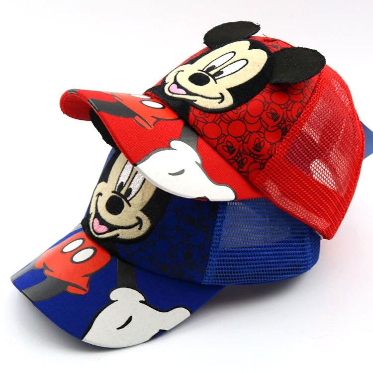 Kids Baseballcap  Mickey Baseball Cap Kids  Adjustable Baseballcap Boys Children Cartoon Sunhat Breathable Mesh Hats