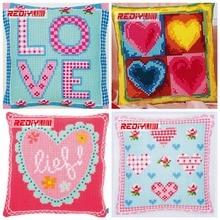REDIY Cross Stitch Cushion Cover LOVE & LIFE Decorative Pillow Case Chunky Yarn Cross-Stitch Kits Pre-Printed Cushion for Sofa