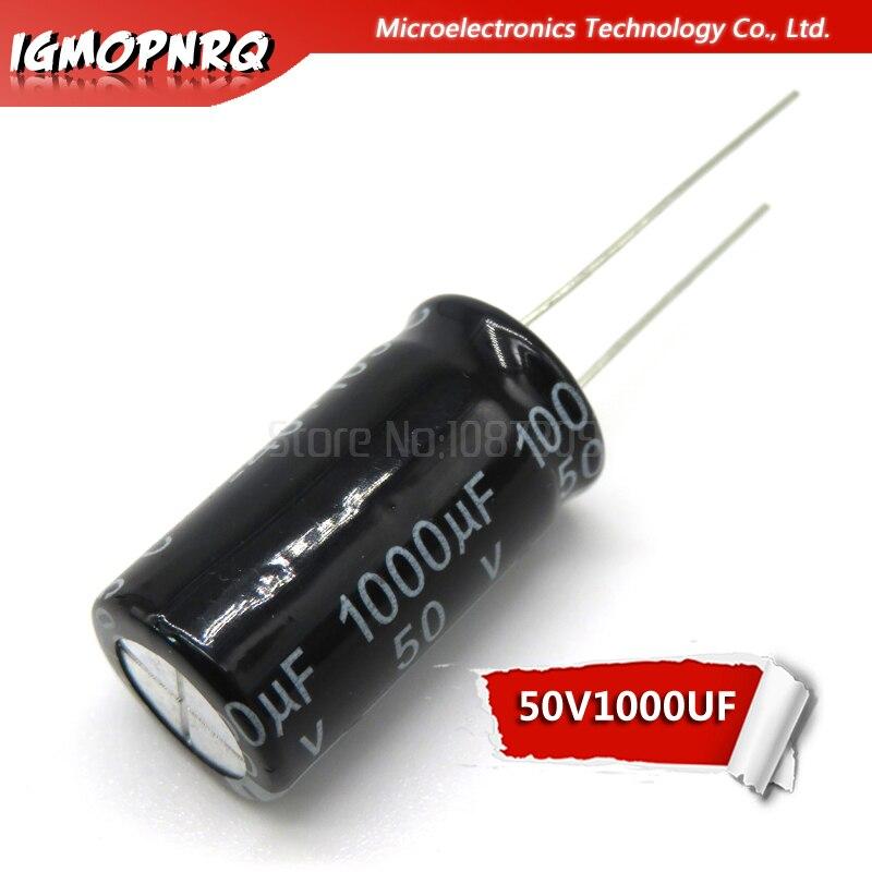 10 pces 50v1000uf 13*25mm 1000 uf 50 v 13*25 capacitor eletrolítico novo original