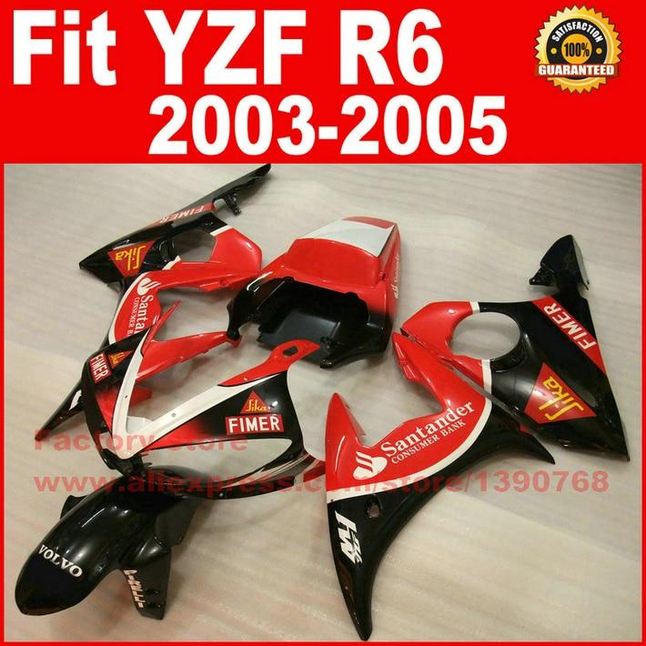 New Hot Moto Parts For YAMAHA R6 Fairing Kit 2003 2004 2005 Red Santander Body Kit Fairings 03 04 05 YZF-R6 BH7