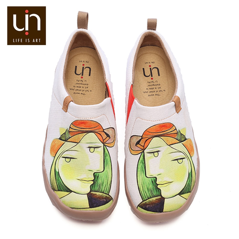 UIN Anna Figure Design Art Painted Canvas Casual Shoes for Women Fashion Loafer Wide Soft Sneaker Co