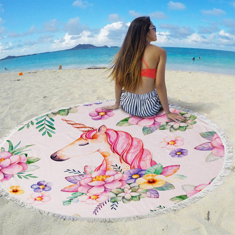 Toalla de playa de estilo unicornio de 150cm a la moda con paquete de bolsillo, conjunto de bañera para nadar portátil, bolsa con cordón, manta deportiva para Yoga