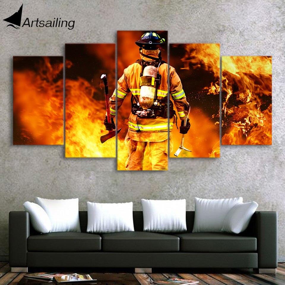 ArtSailing 5 panel de arte de pared sobre lienzo Fireman in fire wall art marco decorativo moderno pintura-Póster con marco CU-1549C