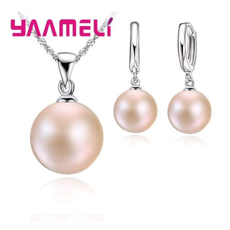 Женские жемчужные Ювелирные наборы высшего качества из стерлингового серебра 925 пробы, эффектное ожерелье, висячие серьги, свадебные ювелирные изделия