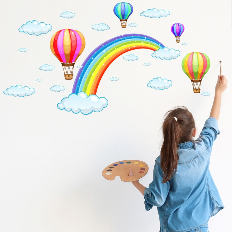 Cartoon Rainbow Cloud Hot Air Balloon Wall Sticker for kids baby rooms decoration Mural Art Decals home decor stickers wallpaper