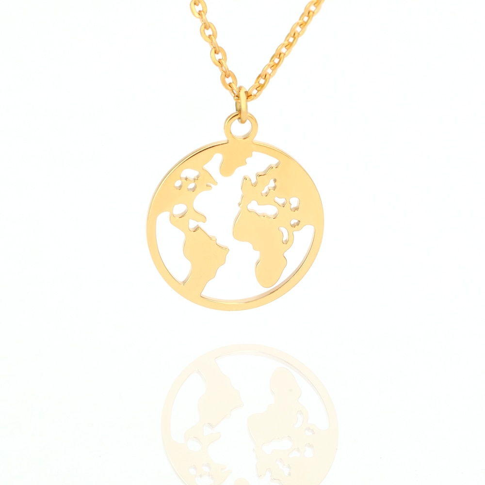Globo mundo mapa colgante collar hueco tierra oro cadena colgante collar joyería de moda accesorios regalos para mejores amigos