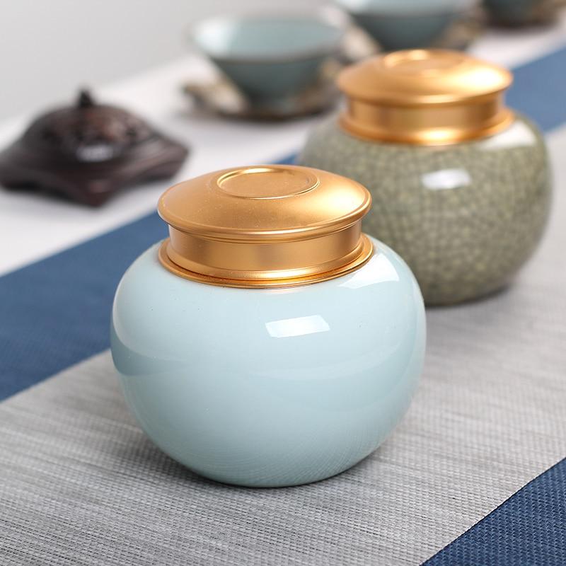 Contenedor redondo multifuncional Mini caja de té juego de té portátil cocina sellada caja de almacenamiento de cerámica café dulces tarros caja de regalo