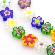 5Strands Handmade Millefiori Glass Bead Strands, Flower, Mixed Color of random, 8~10x4mm; 10~12x4mm, Hole: 1mm; 16''