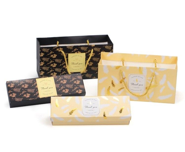 Caja de papel de estampado dorado 25*7,6*5,3 cm caja de embalaje de Chocolate galleta macarrón caja de regalo de boda