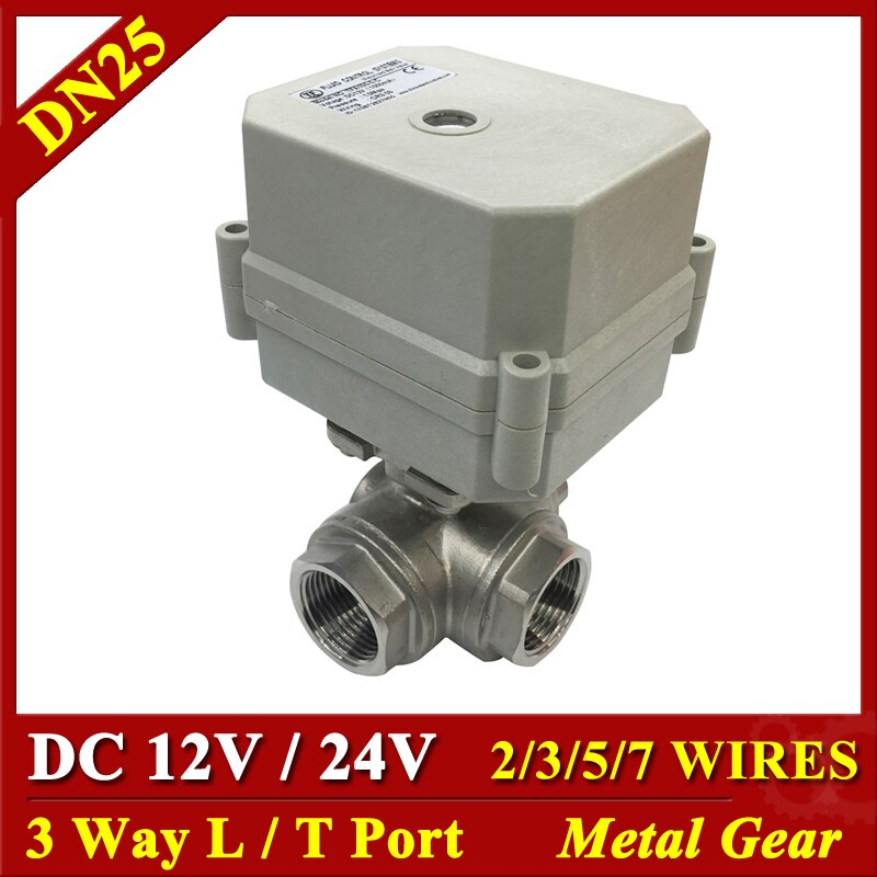 "Tsai Fan de agua eléctrico válvula de 3 vías 1 ""del puerto T Puerto DC12V DC24V par 10Nm/2/3/5/7 cables para agua Control automático"