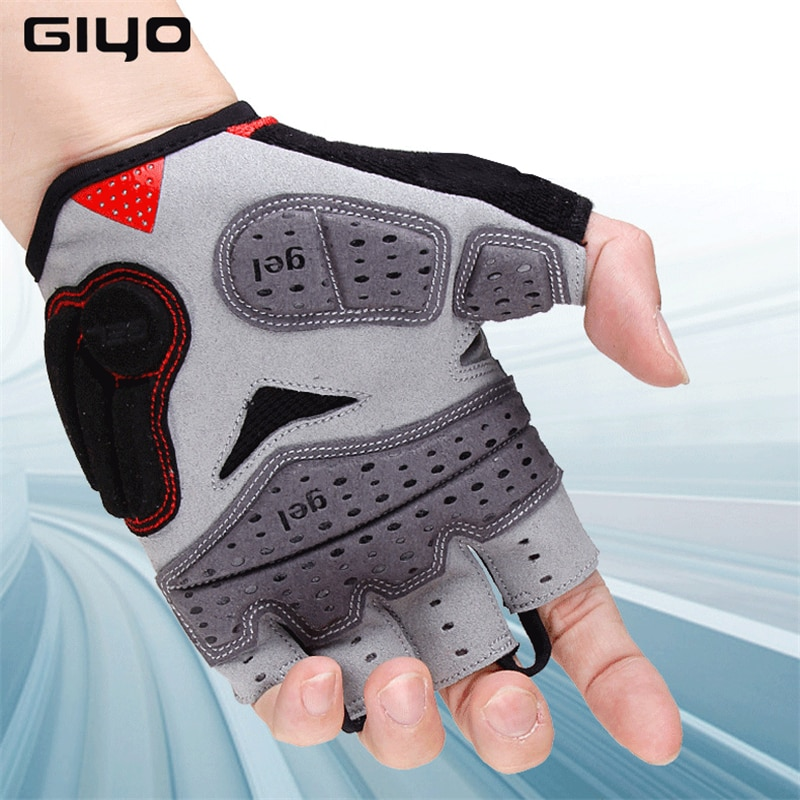 GYIO medio dedo esponja Pad bicicleta guantes para correr deportes transpirable Anti-choque ciclismo bicicleta guantes de secado rápido guantes