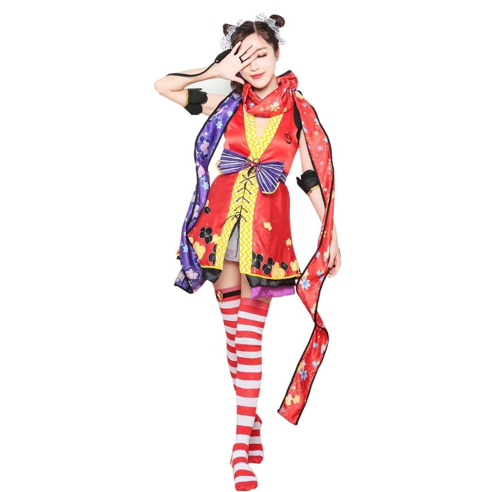 Brdwn amor viver lovelive meninas das mulheres ninja despertar nico yazawa cosplay traje vestido quimono terno