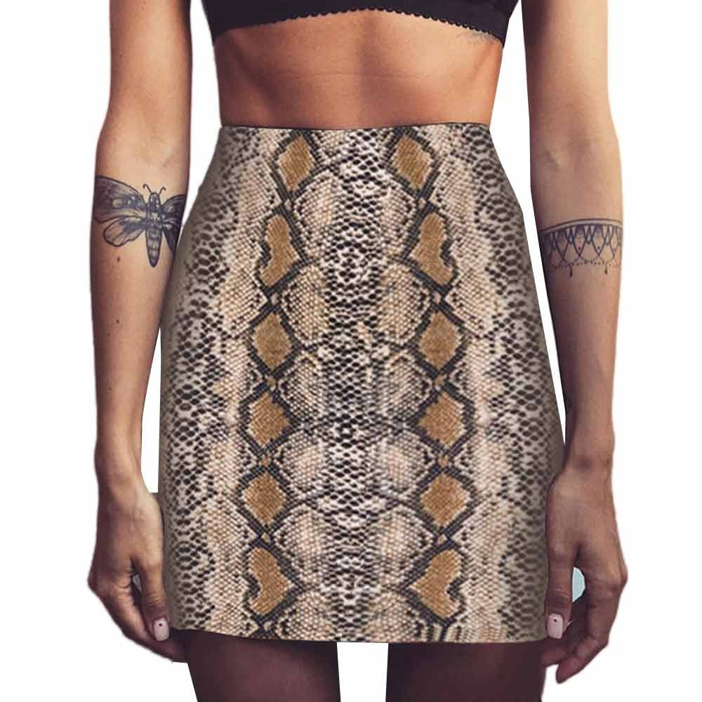 Kobiety Sexy wąż drukuj obcisła spódnica 2019 Retro Evening Party Swing spódnice zamek krótka letnia spódnica harajuku jupiter Femme cg