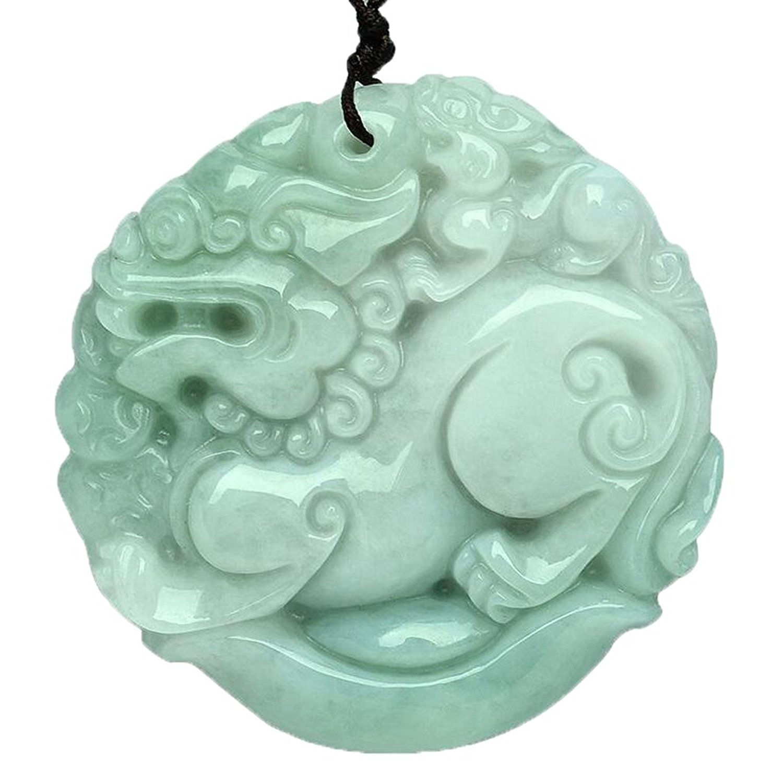Koraba Jóia Fina Pure natural Jadeite Fu Foo Dog Leão Kirin kylin Colar Pingente amuleto Frete Grátis