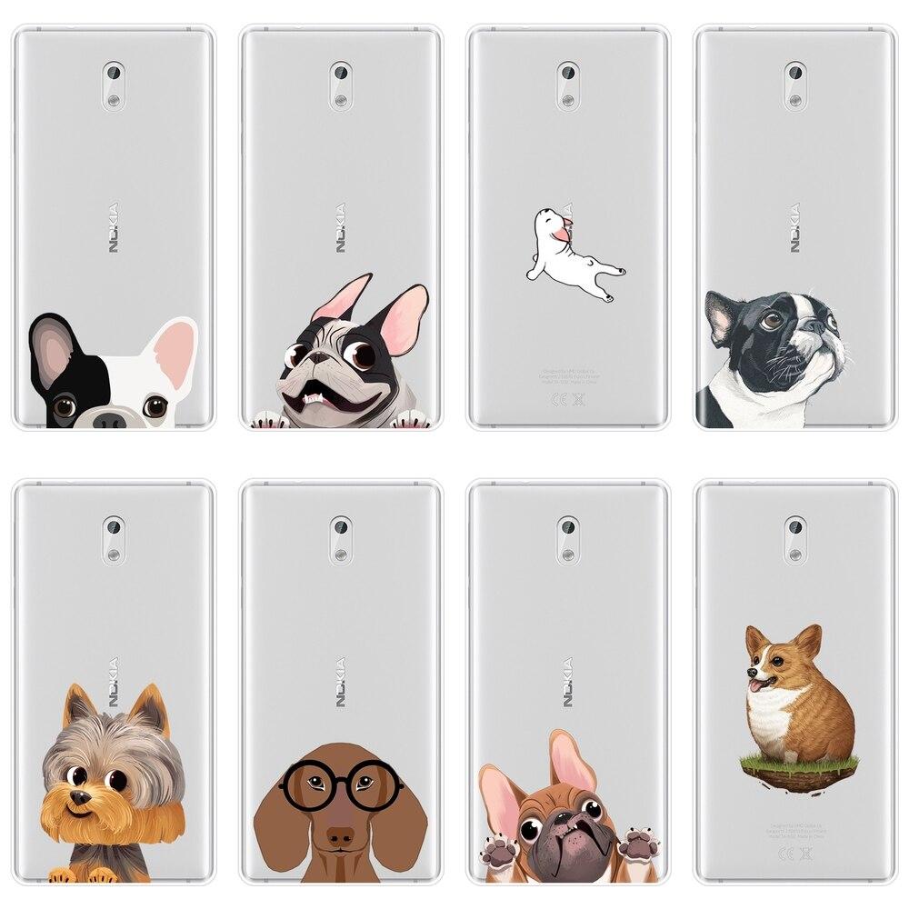 Perro Bulldog francés Corgi Puppy Animal Kawaii caja del teléfono de silicona para Nokia 7 Plus X6 suave cubierta posterior para nokia tableta amortiguador Tech accesorio beige Rojo Negro compruebe Tartan tableta amortiguador 5 6 8