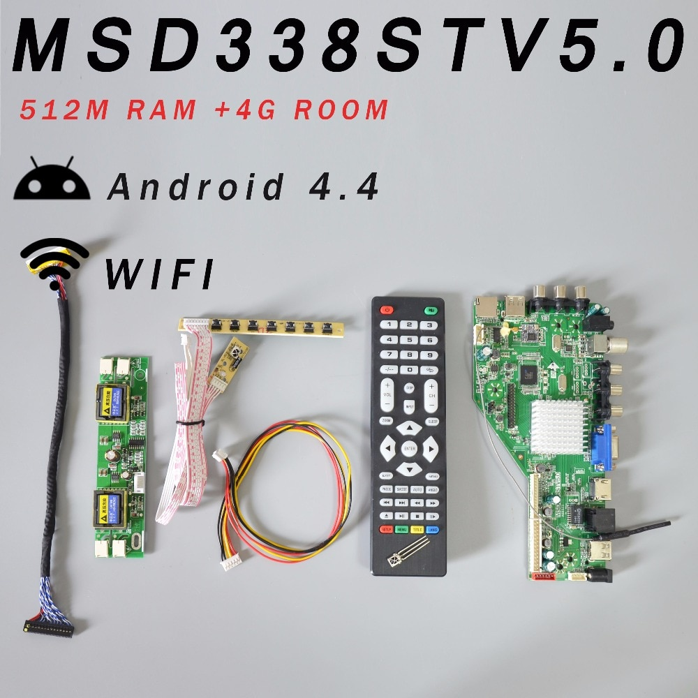 RAM 512M & 4G MSD338STV5.0 TV Rede Inteligente de armazenamento Bordo Motorista LCD Universal Motherboard + 4 Inversor Da Lâmpada + 2ch 8ch 30 pinos