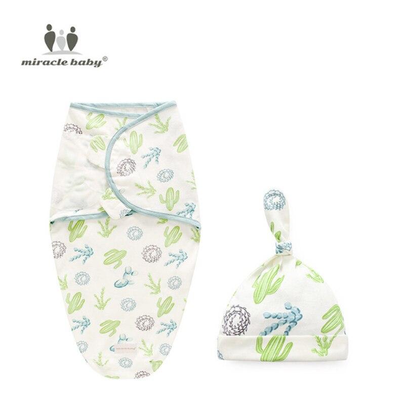 Baby Swaddle Blanket + Cap recién nacido Cocoon Wrap bolso de pañales de algodón sobre saco de dormir ropa de cama