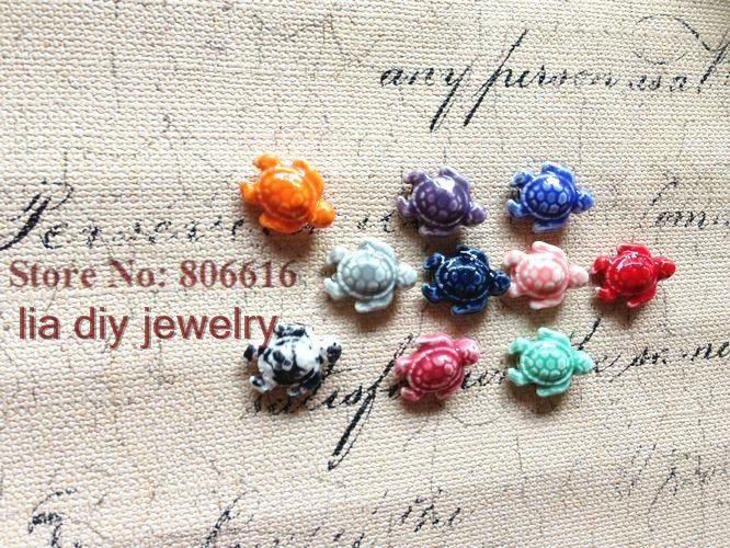 """sea turtle "" 50Pcs Handmade China Ceramic Porcelain Bead Pendants Jewelry Beads For Bracelets Findings Accessories"