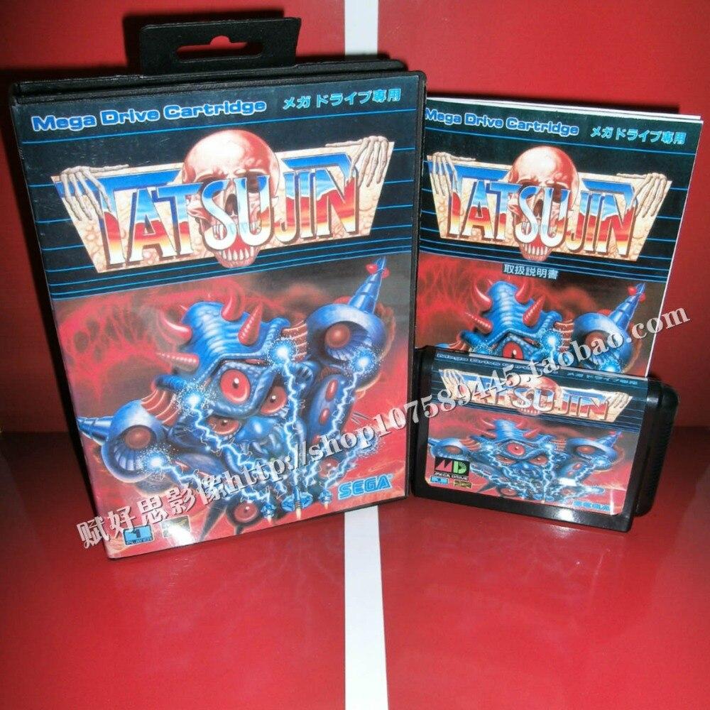 Sega MD game-Tatsujin с коробкой и руководством для 16-битного игрового картриджа Sega MD Megadrive Genesis system