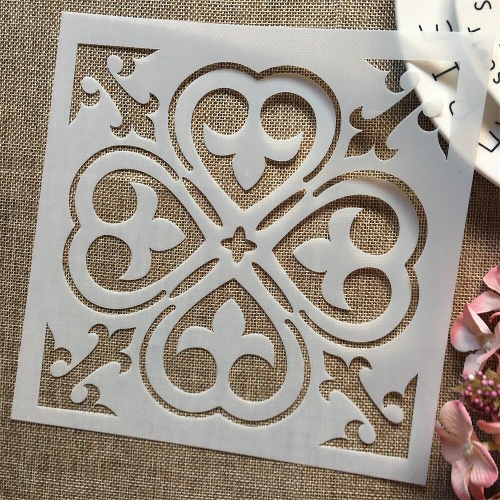 1 piezas 8*8 pulgadas fondo de trébol de flores DIY estacas pintura álbum de recortes para colorear relieve álbum plantilla decorativa