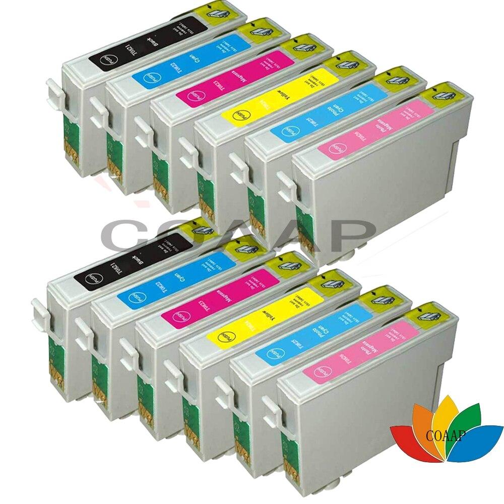 12pcs T0821 T0822 T0823 T0824 T0825 T0826 Compatible ink cartridge for Epson R390 R270 R290 R295 RX590 RX615 RX610 RX690 printer