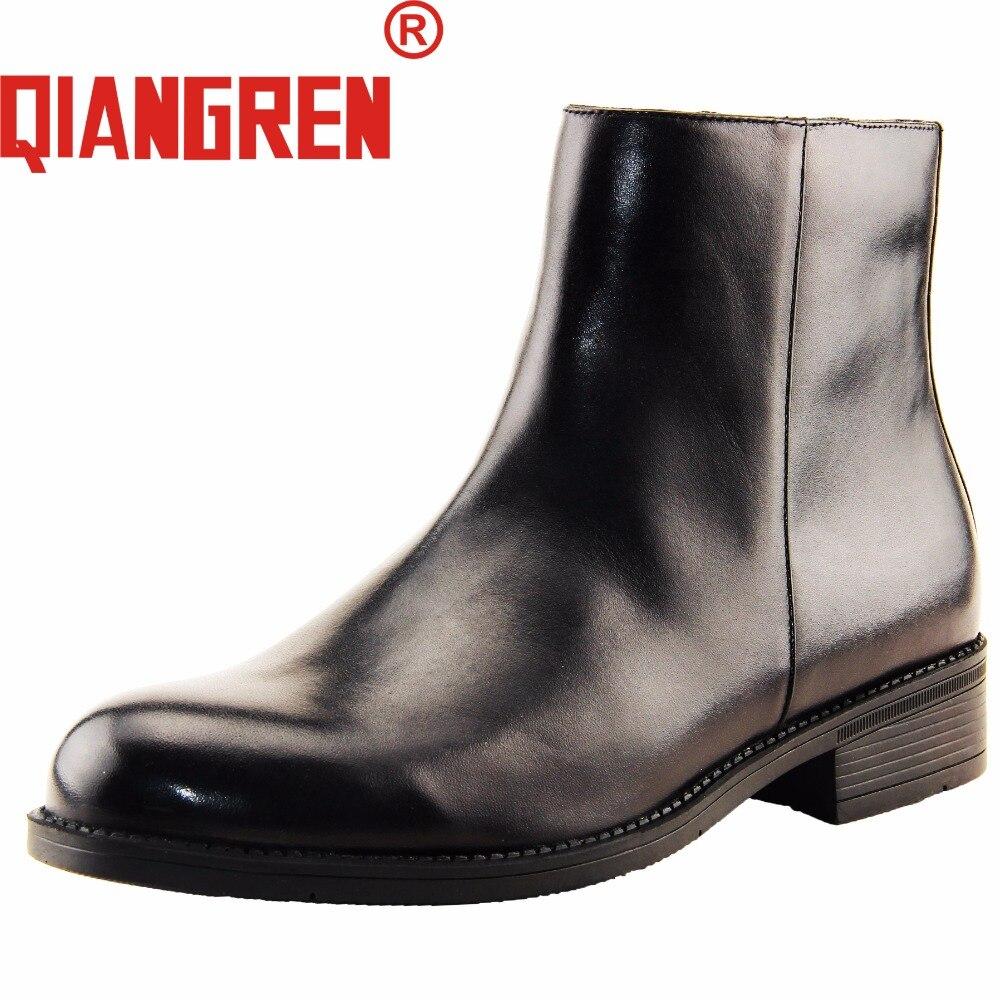 Qiangren العسكرية المصنع مباشرة الرجال الخريف الشتاء جلد طبيعي المطاط الطبيعي الصوف تشيلسي الأحذية الأحذية الذكور السود الأعمال