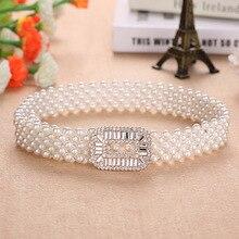 Ceinture élastique à perles pour femmes   Robe élégante, ceinture à chaîne, en cristal, marque de luxe, avec boucle élastique, perle