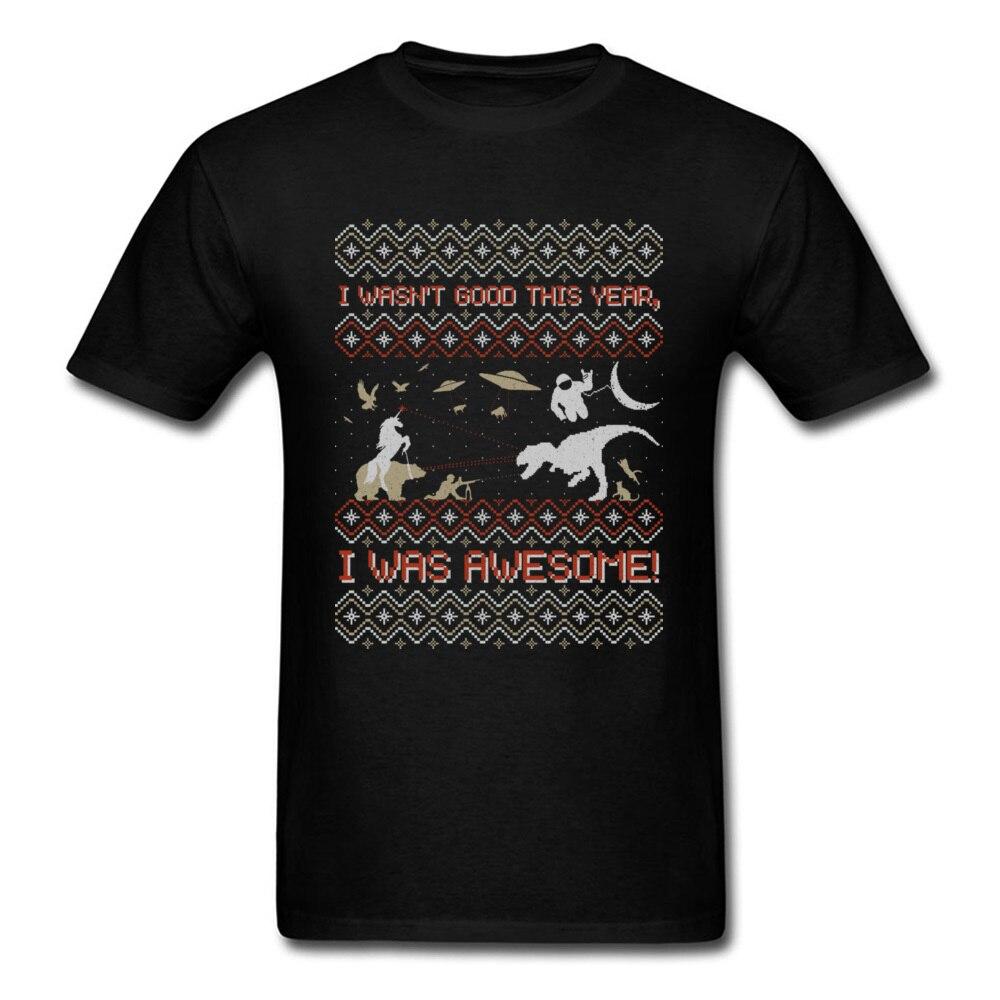 EPIC WEIHNACHTEN PULLOVER 2018 Genial Jahr Männer Cartoon T-shirt Dinosaurier Astronaut Bär Einhorn UFO Weihnachten T-shirt Schwarz