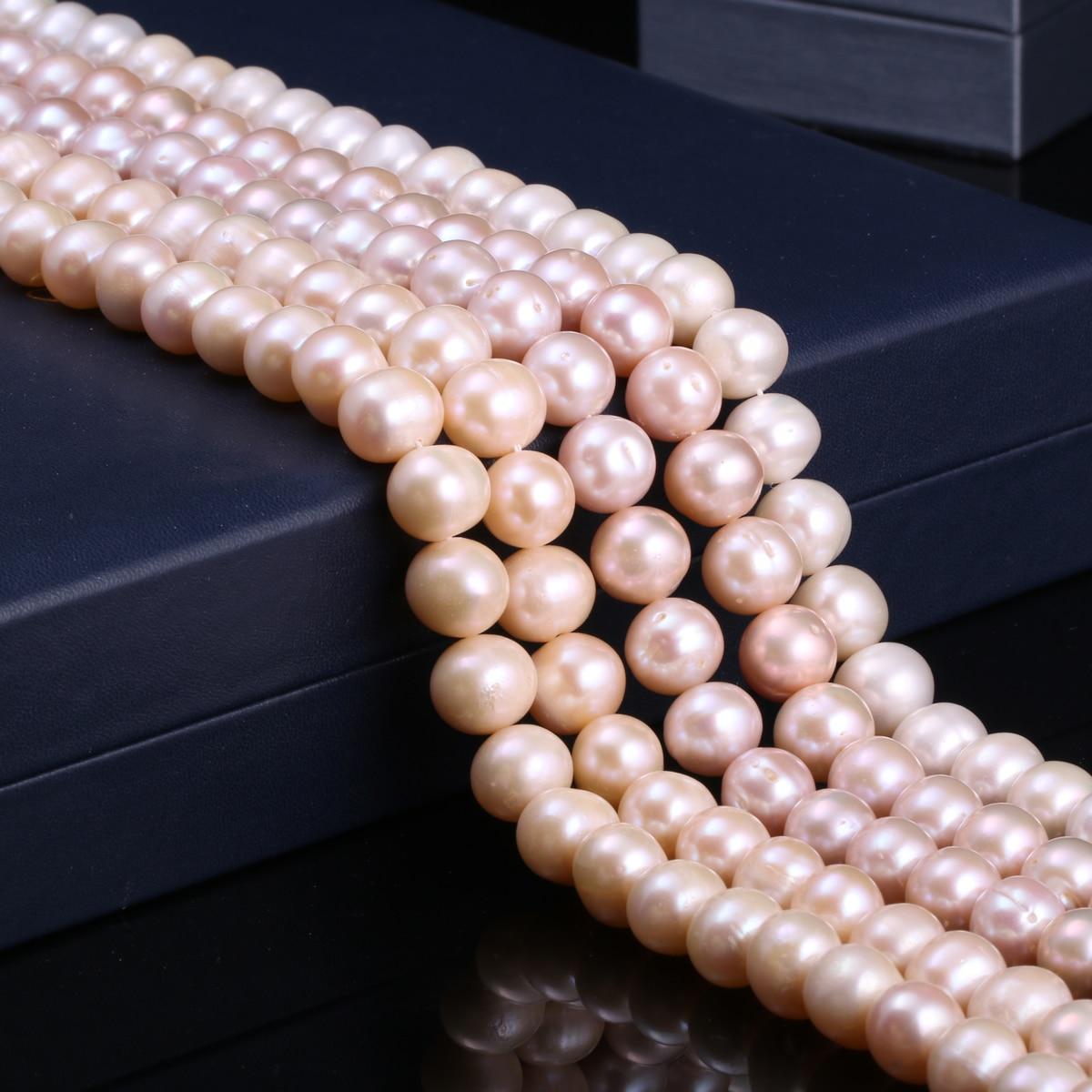 Pérolas cultivadas de água doce natural contas redondas 100% pérolas naturais para fazer jóias colar pulseira 14 polegadas tamanho 11-12mm