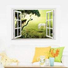 Autocollants muraux 3D beau paysage   Fausse fenêtre, décoration de maison, stickers de chambre à coucher, autocollant mural sur le mur