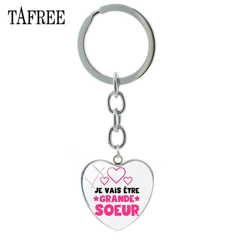 TAFREE llaveros franceses súper grandes Soeur, colgante de cabujón de cristal con forma de corazón con anilla para llaves, colgantes de bolso para regalo de hermana SS09