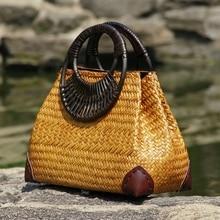 Version thaïlandaise du sac de paille sac à main femme mode rétro vase vigne sac voyage plage sac bambou manche en bois sac à main
