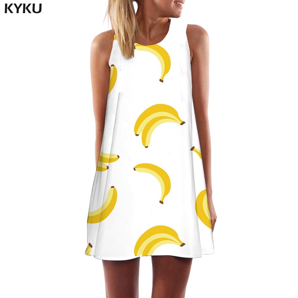 KYKU Banana Vestido Mujer Harajuku corto blanco playa divertida estilo coreano Sexy para mujer ropa Casual sin mangas túnica abrigo Mujer
