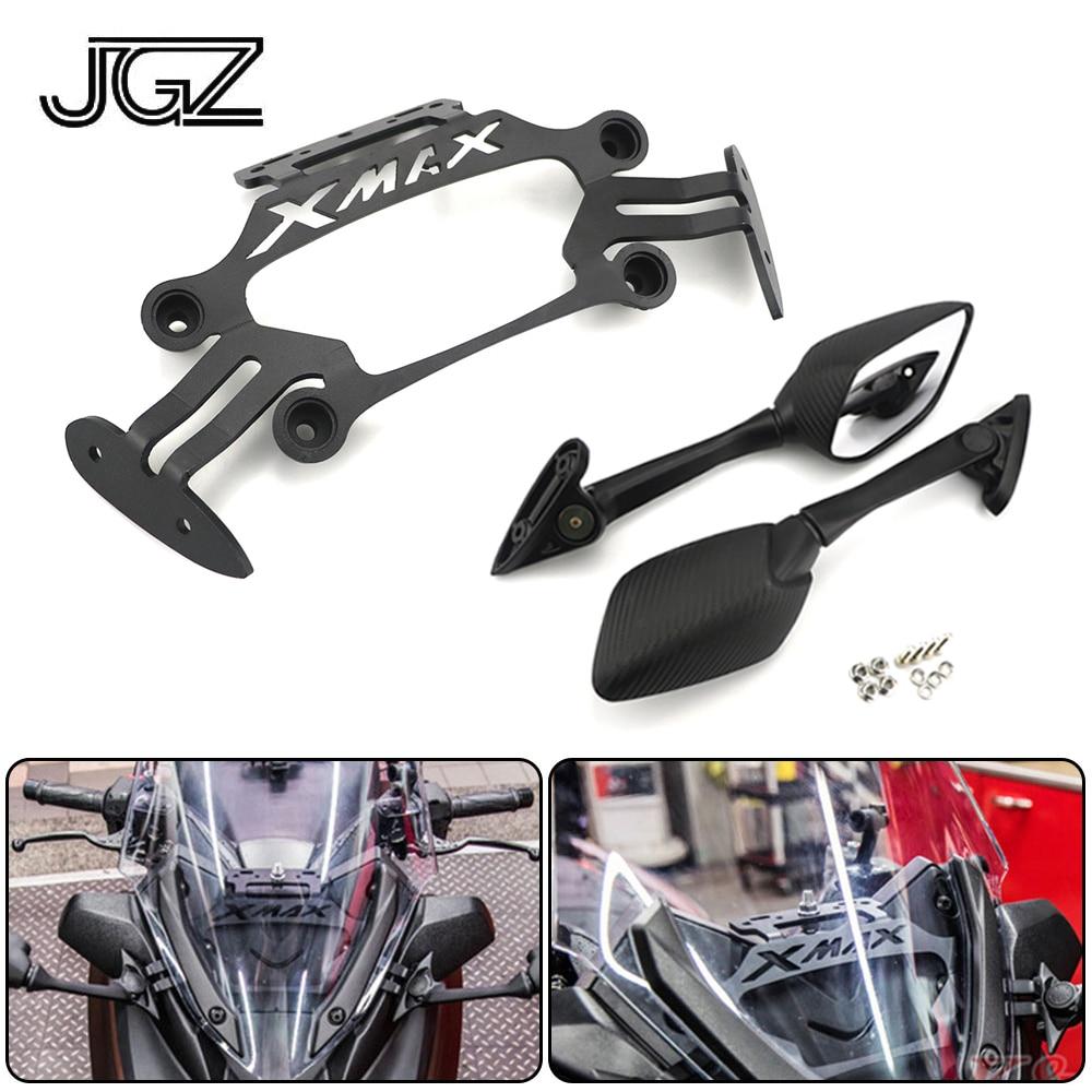 Soporte delantero de aluminio CNC para motocicleta Yamaha XMAX x-max 250 300 soporte para teléfono móvil placa GPS espejos modificados