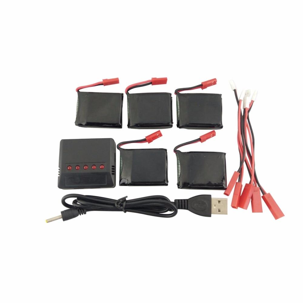 5PCS3.7V 650mAh LiPo baterías JST conector y 5 en 1 cargador de batería para X8TW X8T Q1012 Q9 piezas de repuesto de helicóptero por control remoto