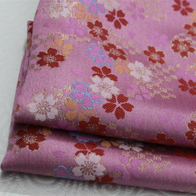 CF390 1 ярд розовая Сакура с золотой вышивкой жаккардовая китайская шелковая парчовая ткань для женского платья Qipao Ткань для шитья