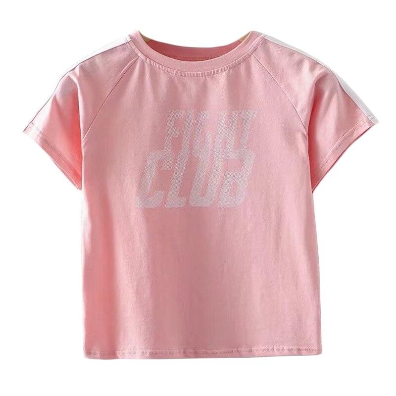 Camiseta de algodón de manga raglán Casual Top Tee Front Fight Club carta de diseño de manga corta de calle americana Crop T-shirt
