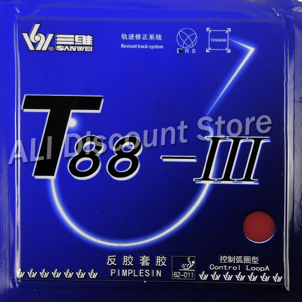 Sanwei T88-III (T88-3, T88 3) Control + bucle Pips-en tenis de mesa (PingPong) Goma con esponja