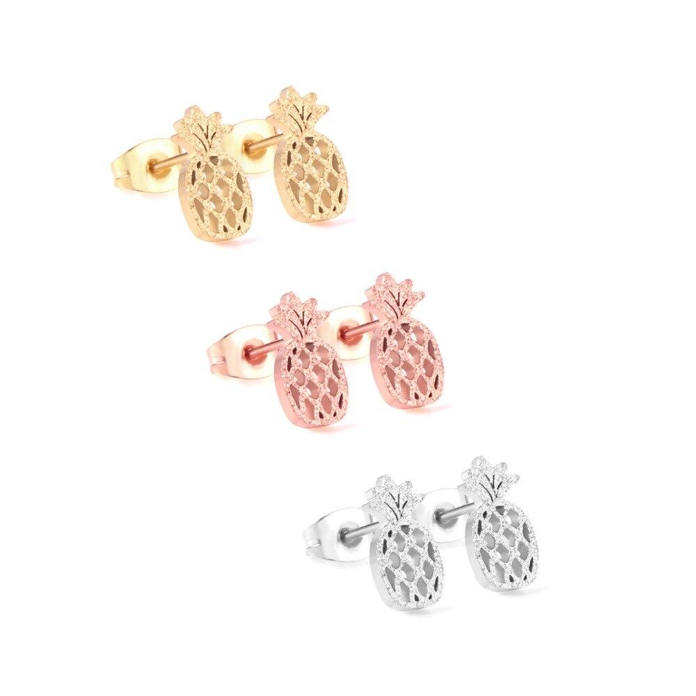 LUXUKISSKIDS 3Pairs/Lot Stainless Steel Stud Earrings Fruit Shape pendientes de moda de las mujeres