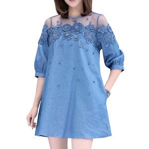 Summer Ladies Plus Size Big Fat Faux Denim Dress For Women Clothes Lace Embroidery Vestidos Elegant 4xl 5XL Thin Party Dress