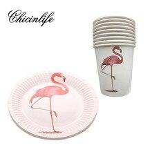 Chicinlife 10Pcs Flamingo Party Paper Cup Plaat Kids Party Bruiloft Decoratie Gelukkige Verjaardag Vrijgezellenfeest Levert