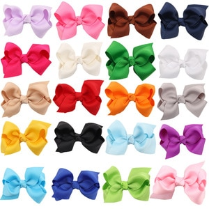 20PCS/lot Solid Hair Hand Weaving Bows Girls 20 colors Solid Grosgrain Ribbon Hair Bow Kids Boutuique Hair Accessories 2018